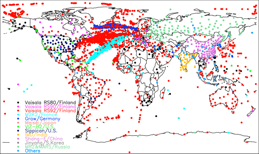 Global-distribution-of-radiosonde-stations-and-ship-reports-collocated-within-7-h-and-250